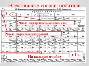 Электронные уровни, орбитали На каждую ячейку Число энергетических уровней Чи