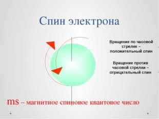 Спин электрона Вращение по часовой стрелке – положительный спин Вращение прот