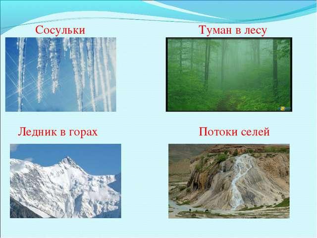 Сосульки Туман в лесу Ледник в горах Потоки селей