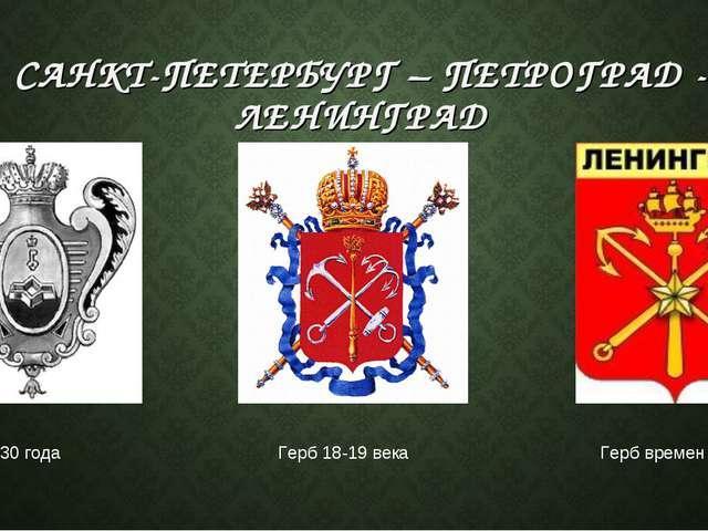 САНКТ-ПЕТЕРБУРГ – ПЕТРОГРАД - ЛЕНИНГРАД Герб 1730 года Герб 18-19 века Герб в...