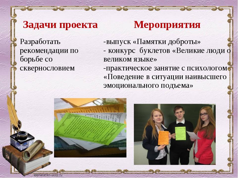 Задачи проектаМероприятия Разработать рекомендации по борьбе со сквернослов...