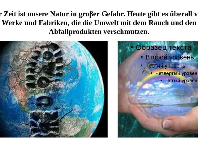 Zur Zeit ist unsere Natur in groβer Gefahr. Heute gibt es überall viele Werke...