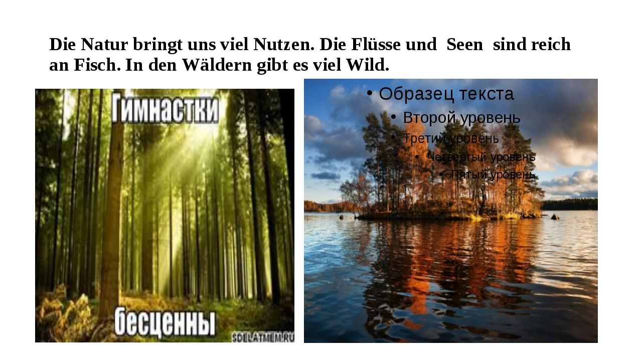 Die Natur bringt uns viel Nutzen. Die Flüsse und Seen sind reich an Fisch. In...