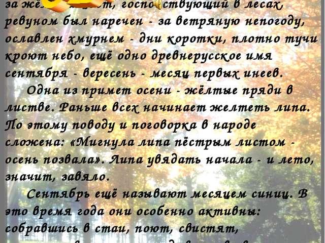 В старину сентябрь именовался как руен - за жёлтый цвет, господствующий в лес...