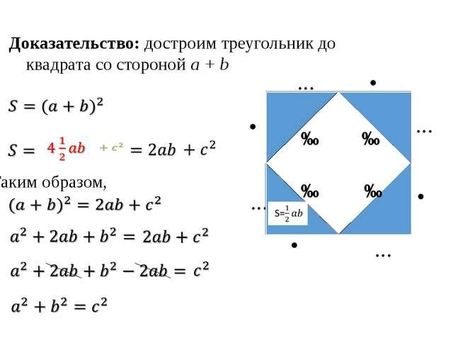 Таким образом, b b b b a a a a c c c c Доказательство: достроим треугольник...