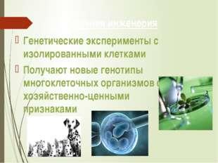 3. Клеточная инженерия Генетические эксперименты с изолированными клетками По