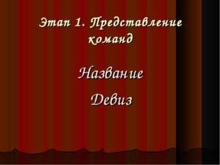 Этап 1. Представление команд Название Девиз Яковлева И.А.