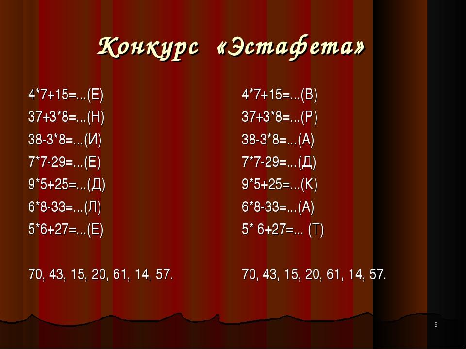 * Конкурс «Эстафета» 4*7+15=...(Е) 37+3*8=...(Н) 38-3*8=...(И) 7*7-29=...(Е)...