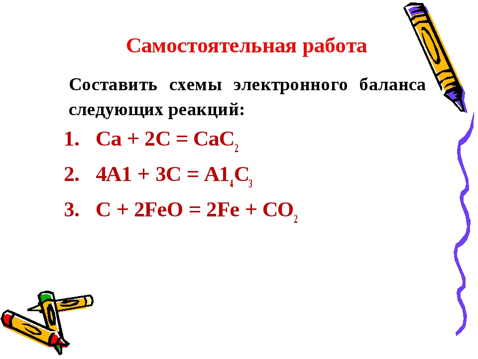 Самостоятельная работа Составить схемы электронного баланса следующих реакц...