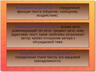 . Функциональный аспект — определение функции текста (общение, сообщение, воз