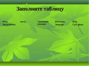 Заполните таблицу Фаза ФотосинтезаместоУравнение реакцииИсточник ЭнергииИ