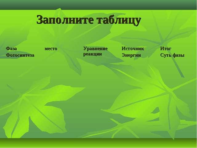 Заполните таблицу Фаза ФотосинтезаместоУравнение реакцииИсточник ЭнергииИ...