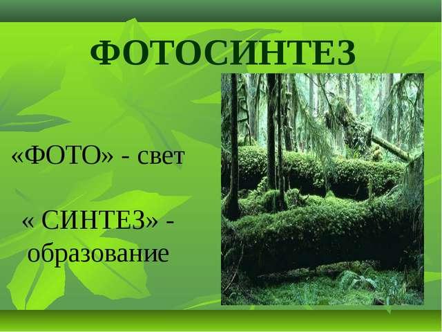 ФОТОСИНТЕЗ «ФОТО» - свет « СИНТЕЗ» - образование