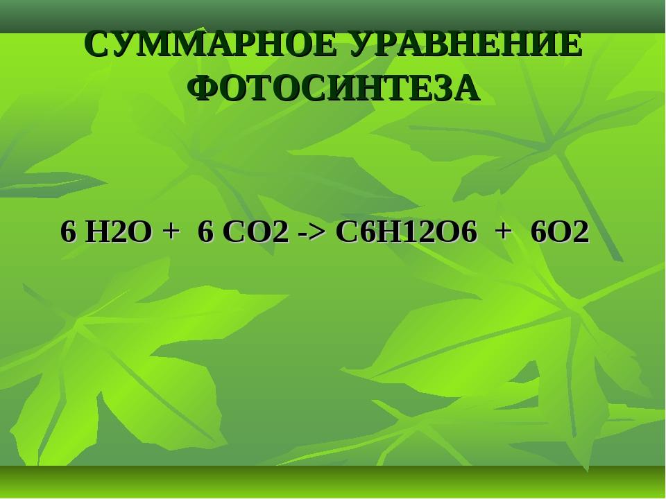 СУММАРНОЕ УРАВНЕНИЕ ФОТОСИНТЕЗА 6 Н2О + 6 СО2 -> С6Н12О6 + 6О2