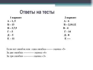 Ответы на тесты 1 вариант 2 вариант А – 1, 5 А - 6 Б – 13 Б – 2,10,12 В – 3,