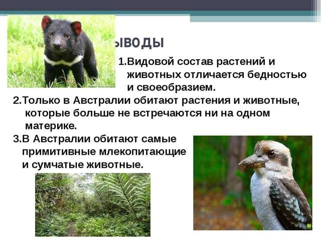 Выводы 1.Видовой состав растений и животных отличается бедностью и своеобраз...