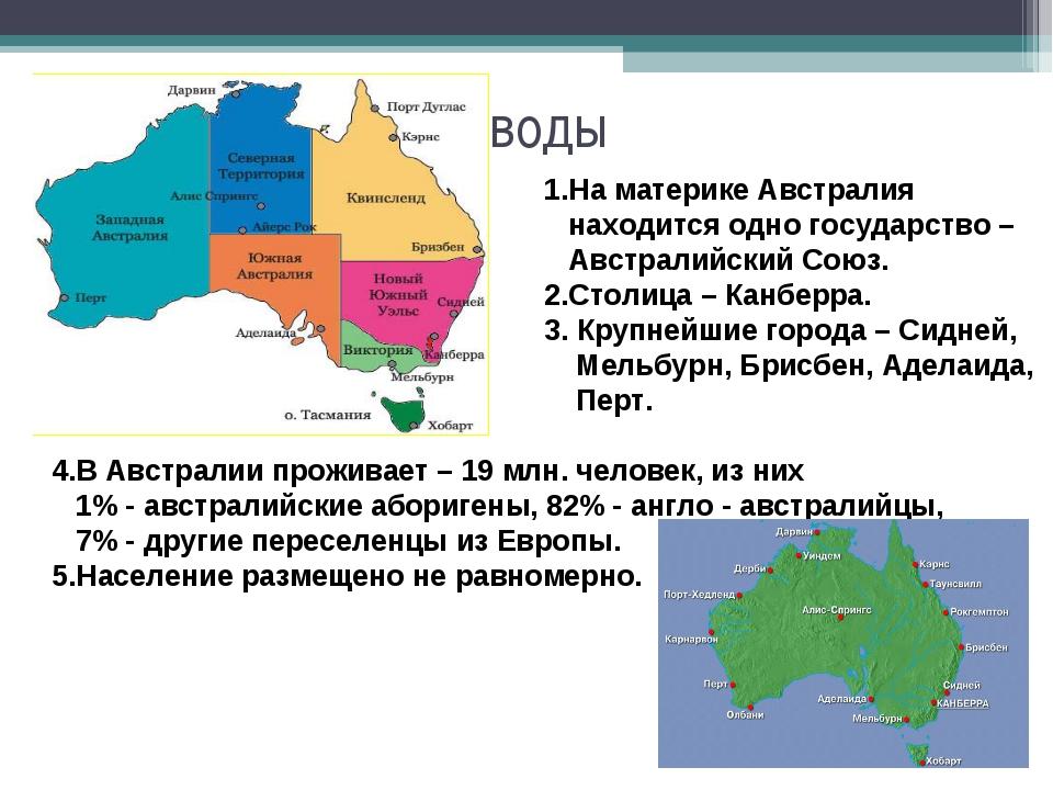 Выводы 1.На материке Австралия находится одно государство – Австралийский Со...