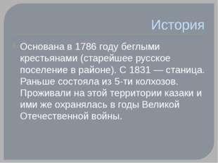 История Основана в 1786 году беглыми крестьянами (старейшее русское поселени