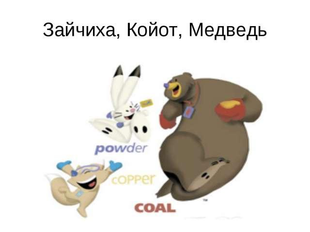 Зайчиха, Койот, Медведь