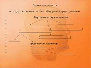 Задание для учащихся: по ходу урока заполнить схему «Внутренняя среда организ