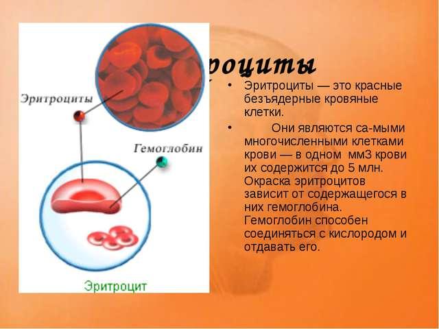 Эритроциты Эритроциты — это красные безъядерные кровяные клетки. Они являют...