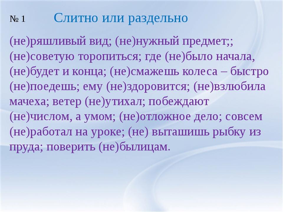 (не)ряшливый вид; (не)нужный предмет;; (не)советую торопиться; где (не)было н...
