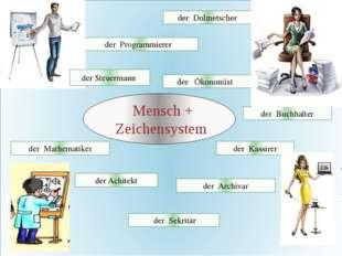Mensch + Zeichensystem der Dolmetscher der Programmierer der Ökonomist der B