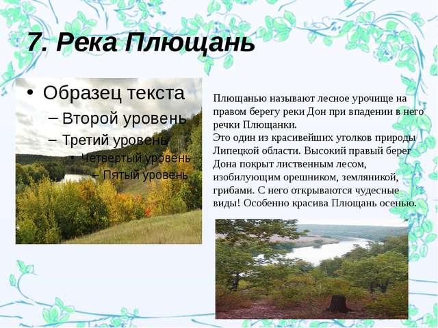 7. Река Плющань Плющанью называют лесное урочище на правом берегу реки Дон пр...