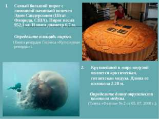 1.Самый большой пирог с лимонной начинкой испечен Эдом Сандерсоном (Штат Фл