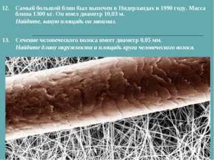 13.Сечение человеческого волоса имеет диаметр 0,05 мм. Найдите длину окружно