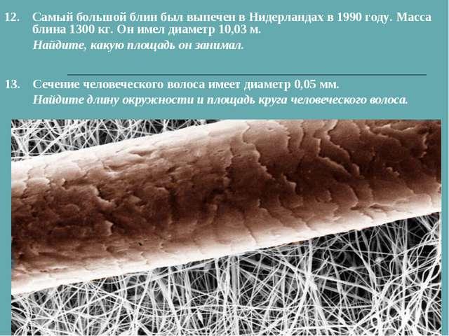 13.Сечение человеческого волоса имеет диаметр 0,05 мм. Найдите длину окружно...