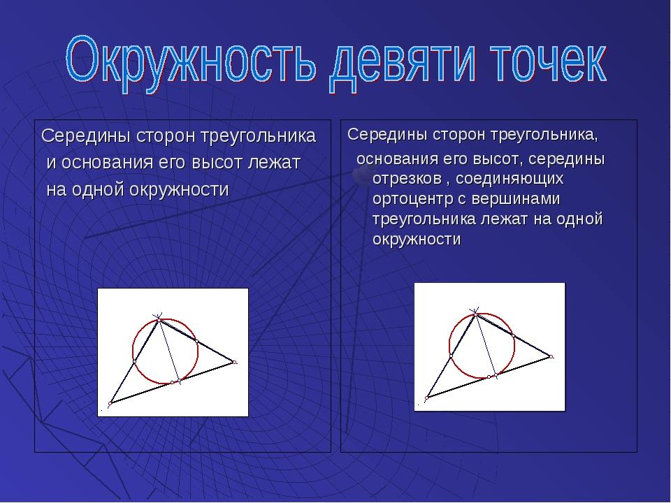 Середины сторон треугольника и основания его высот лежат на одной окружности...