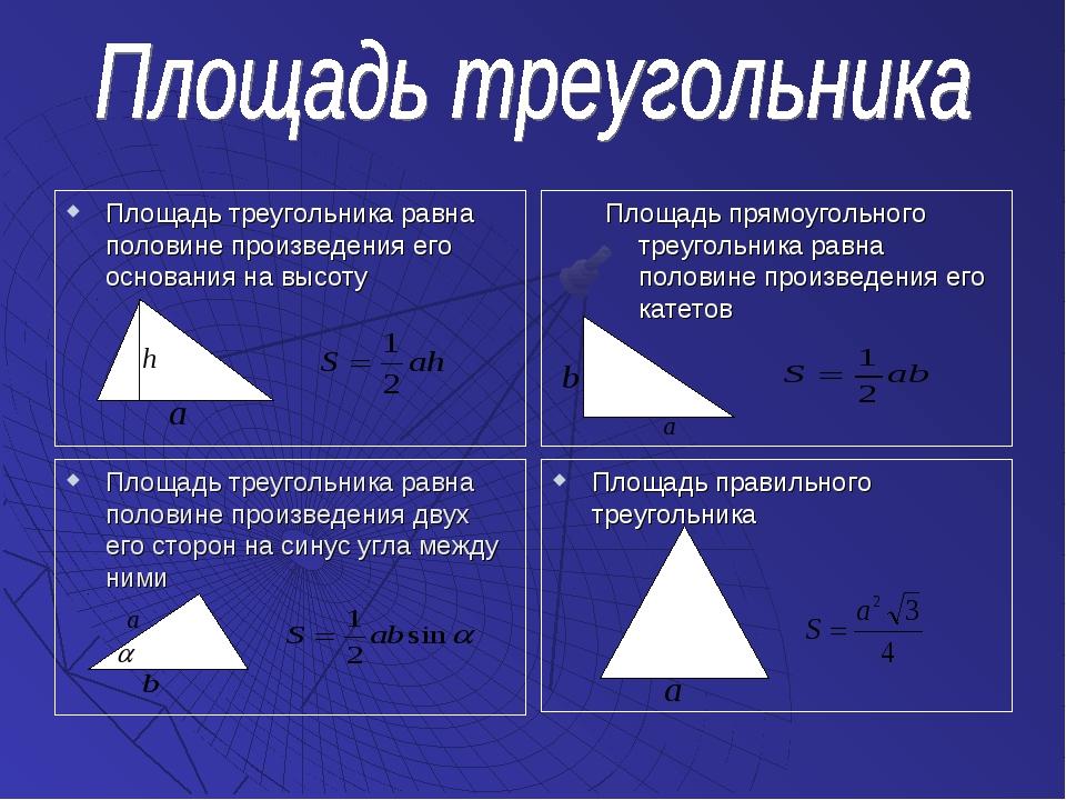 Площадь треугольника равна половине произведения его основания на высоту Площ...