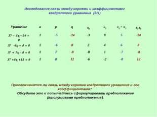 Исследование связи между корнями и коэффициентами квадратного уравнения (д/з)