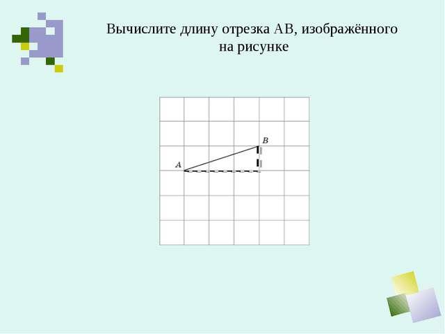 Вычислите длину отрезка АВ, изображённого на рисунке