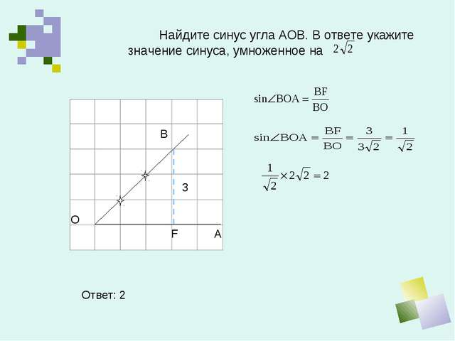 Найдите синус угла АОВ. В ответе укажите значение синуса, умноженное на В О...