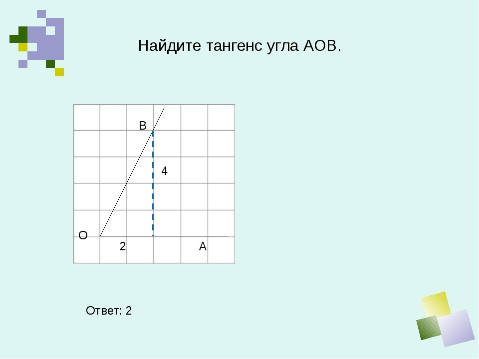 Найдите тангенс угла АОВ. В О А Ответ: 2 4 2