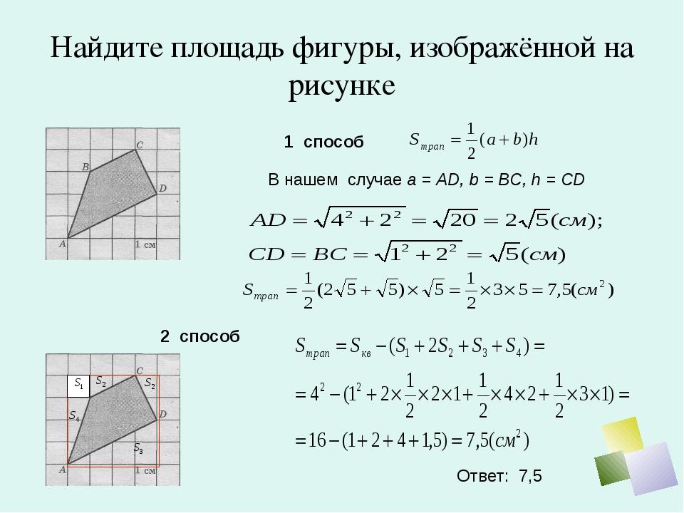 Найдите площадь фигуры, изображённой на рисунке 1 способ В нашем случае а = A...