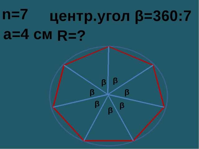 R=? a=4 см центр.угол β=360:7 n=7 β β β β β β β