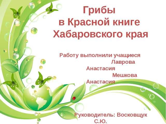Грибы в Красной книге Хабаровского края Работу выполнили учащиеся Лаврова Ан...
