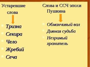 Языковые особенности «Песни о вещем Олеге» Устаревшие слова Тризна Секира Чел