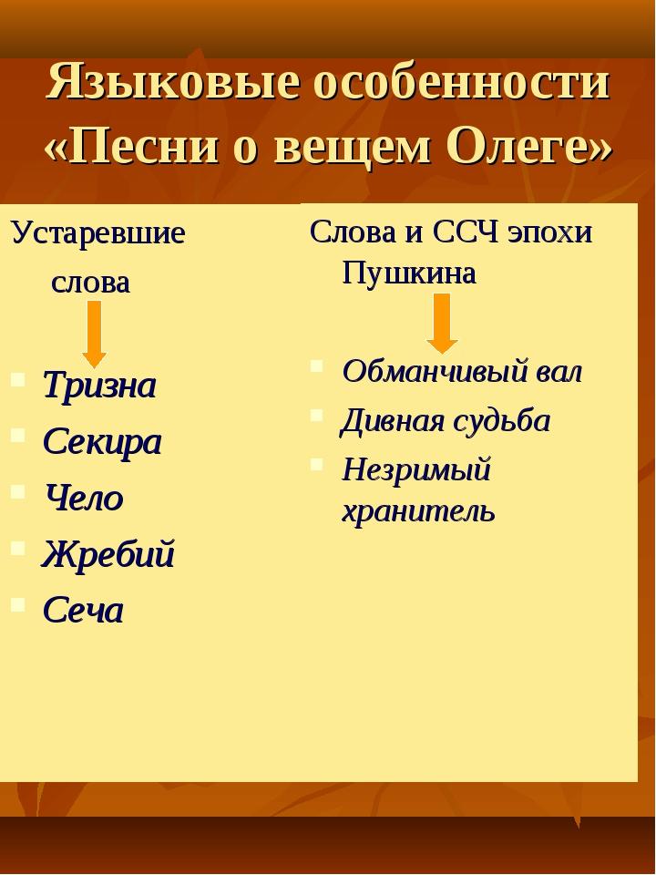 Языковые особенности «Песни о вещем Олеге» Устаревшие слова Тризна Секира Чел...