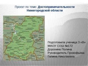 Проект по теме: Достопримечательности Нижегородской области Подготовила учени