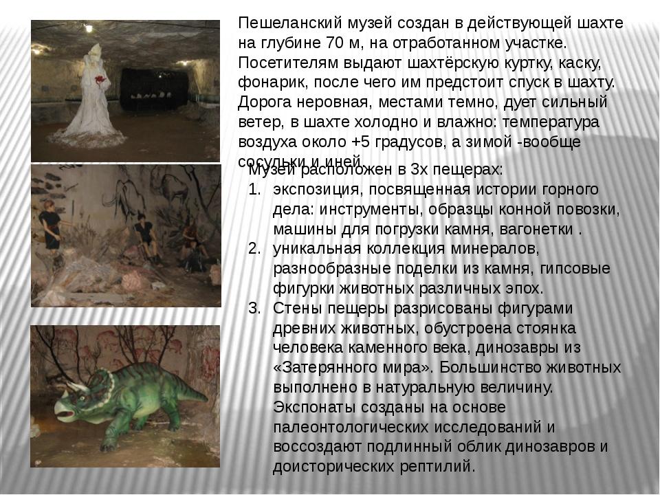 Пешеланский музей создан в действующей шахте на глубине 70 м, на отработанном...