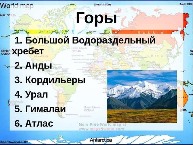 Горы 1. Большой Водораздельный хребет 2. Анды 3. Кордильеры 4. Урал 5. Гимала...