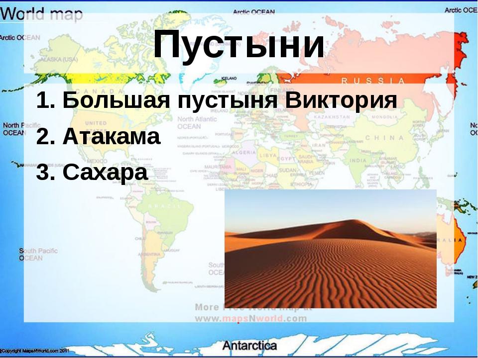 Пустыни 1. Большая пустыня Виктория 2. Атакама 3. Сахара