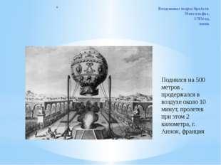 Воздушные шары братьев Монгольфье, 1783год, июнь Поднялся на 500 метров , про