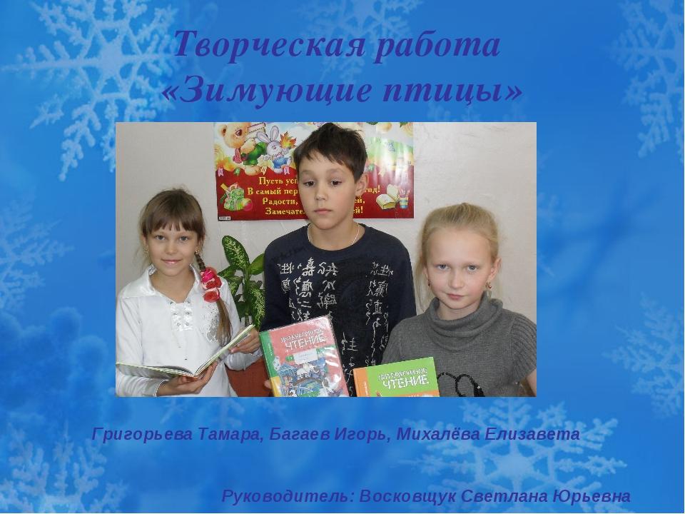 Творческая работа «Зимующие птицы» Григорьева Тамара, Багаев Игорь, Михалёва...