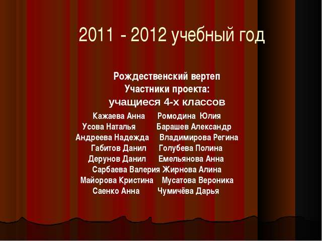 2011 - 2012 учебный год Рождественский вертеп Участники проекта: учащиеся 4-х...