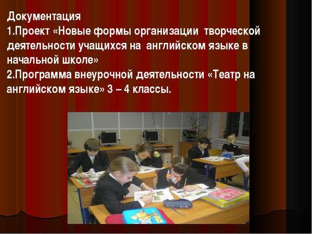 Документация Проект «Новые формы организации творческой деятельности учащихся...